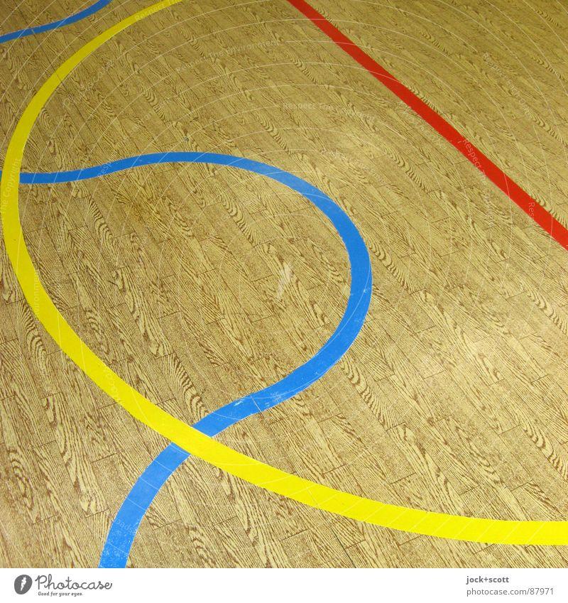 Geradeaus und Kurvig, Linien auf Holzimitat Grafik u. Illustration retro kreuzen Spielfeld gebraucht Halbkreis zwischen DDR PVC Holzimintat Linientreue