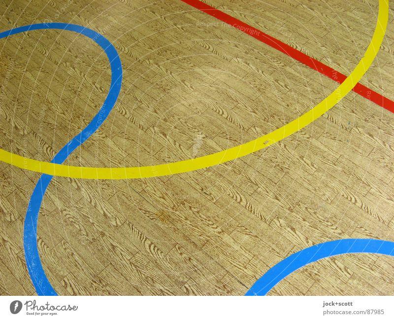 Schau Genau auf die Linien, Holzimitat Wellen kreuzen Norm Geometrie Spielfeld Treffpunkt gebraucht Linienstärke RGB Halbkreis Kurve Bogen DDR PVC Holzimintat