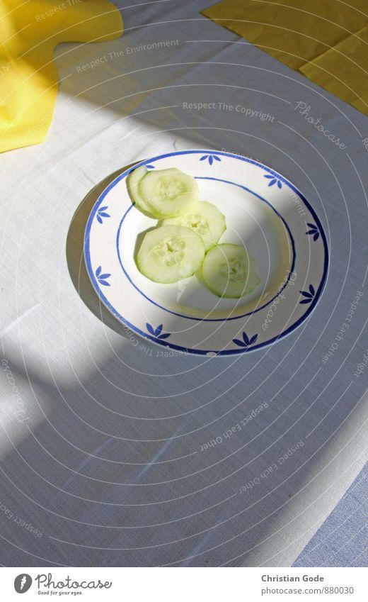 Gute Gurken blau weiß Erholung ruhig gelb Lebensmittel Ernährung Wellness Bioprodukte Geschirr 5 Teller Tischwäsche Lichtschein Vegetarische Ernährung