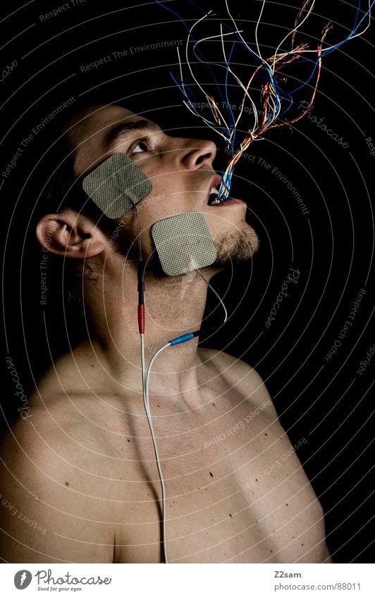 elektrisiert Mensch Mann grün rot schwarz Kopf Haare & Frisuren Stil Mund Angst hoch Wachstum Bart Maschine Draht verloren
