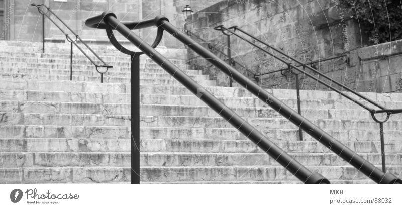 Aufstieg Sa Seu Pflanze schwarz Stein Mauer Linie Treppe Ecke trist Stahl Verkehrswege Kurve Geländer aufsteigen Bogen parallel