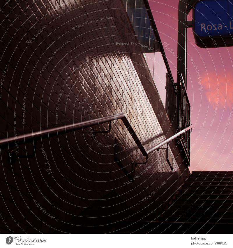 rosa U-Bahn Berliner Verkehrsbetriebe Sonnenuntergang Öffentlicher Personennahverkehr Endstation Deutschland Treppe Geländer Schilder & Markierungen Farbe