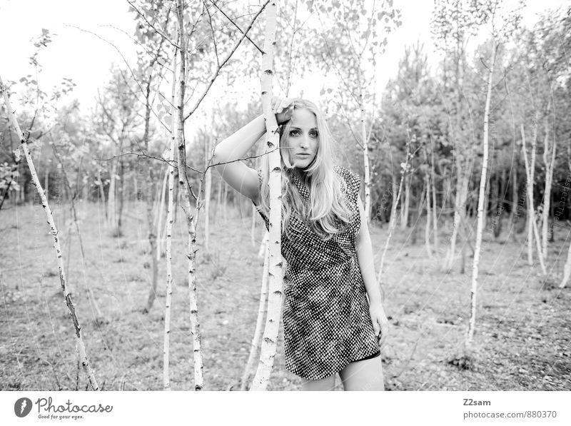 Fall 2014 Natur Jugendliche schön Baum Junge Frau Einsamkeit Landschaft 18-30 Jahre Wald Erwachsene Traurigkeit Herbst feminin natürlich Mode träumen