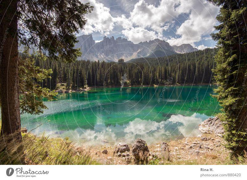 KarerSee Umwelt Natur Landschaft Himmel Wolken Sommer Wald Berge u. Gebirge Ferien & Urlaub & Reisen ruhig Dolomiten Karersee Südtirol Farbfoto Außenaufnahme
