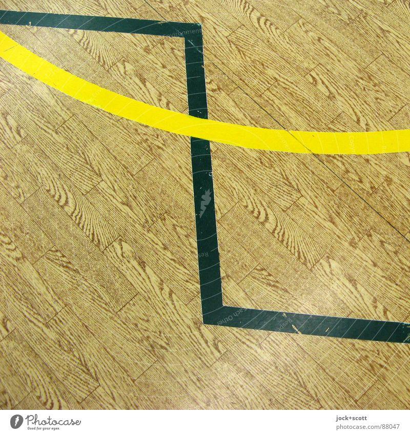 Zick Zack, Linien auf Holzimitat eckig braun gelb Design kreuzen Norm Geometrie Regel Grenze Spielfeld Treffpunkt Richtung gebraucht verbinden Zickzack zwischen