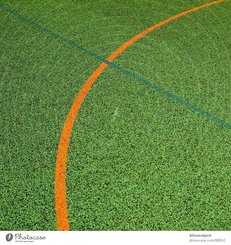 Weniger ist Mehr Basketballplatz Sportplatz Biegung Linie Spielfeld Platz Ballsport Spielen orange um die ecke minimalistisch