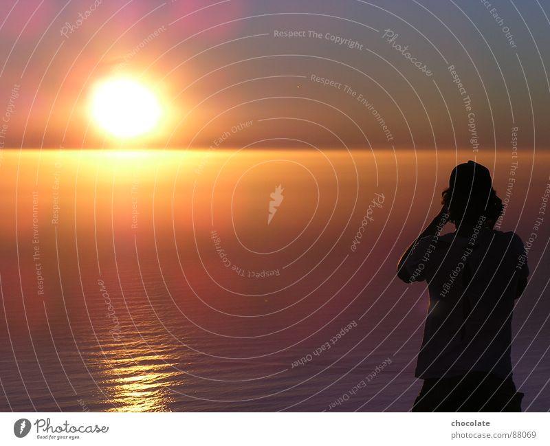 Sunset from the top of tablemountain Mensch Natur Wasser schön Sonne Meer Gefühle Wellen Romantik Afrika fantastisch Abenddämmerung gemalt