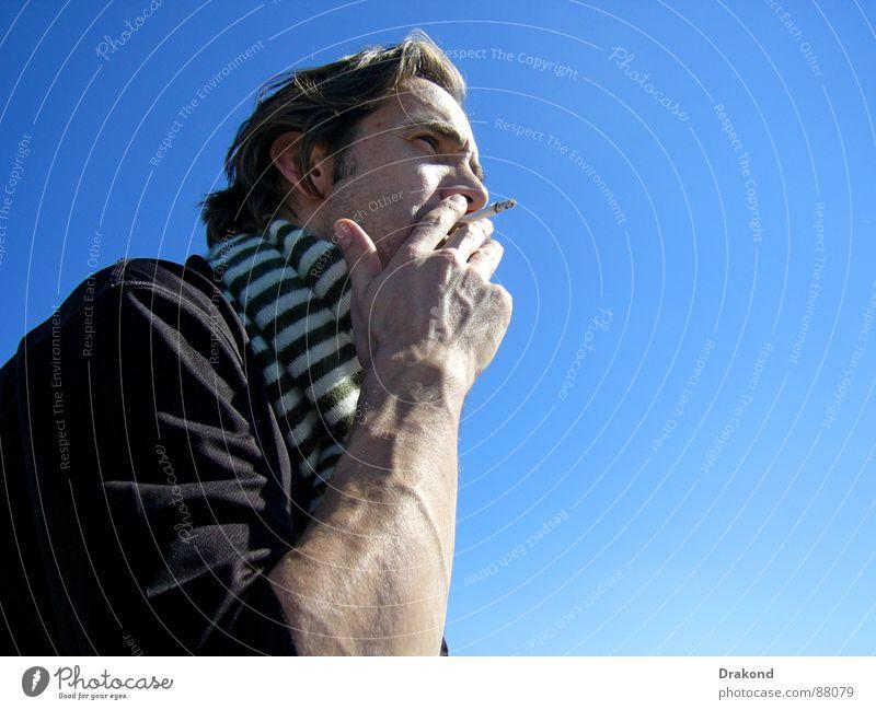 Smoke Zigarette Schal Hand Gefäße Tabak Mann smokes One smokes lose hair Mann raucht persons Man smokes Rauch Haare & Frisuren Mensch Krebstier Cancer Health