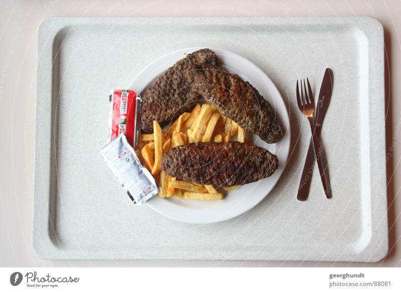 Mensa: Antivegetarier Lebensmittel Speise Ernährung Gastronomie Appetit & Hunger Teller Fleisch Messer Mahlzeit Mittagessen Besteck Futter Gabel ungesund