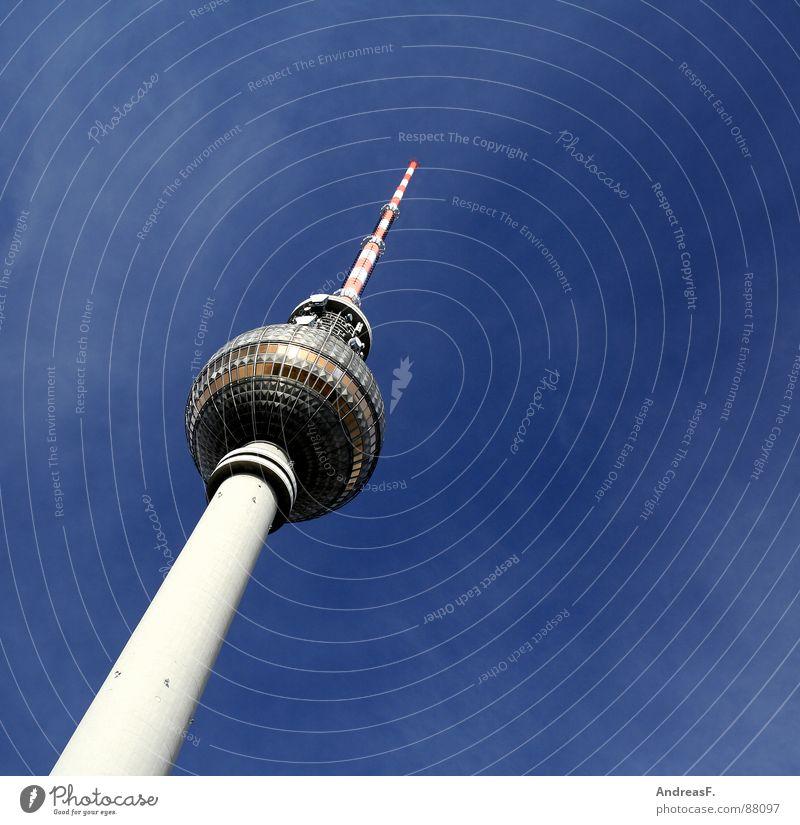 ein stück berlin Himmel schön Berlin Deutschland Turm Fernsehen Mitte Schönes Wetter Denkmal Wahrzeichen DDR Hauptstadt Berliner Fernsehturm Antenne Blauer Himmel Alexanderplatz