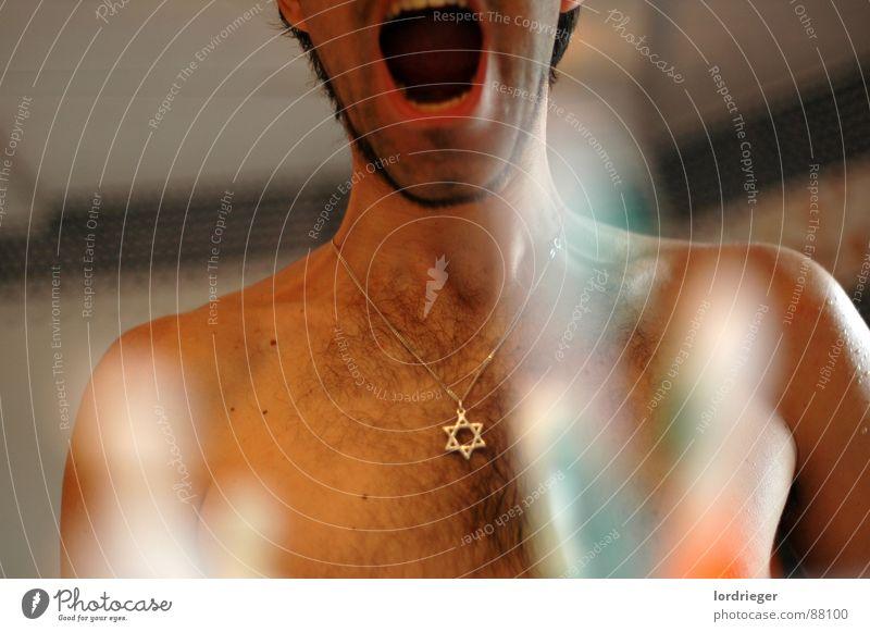 ohne titel Mensch Mann Farbe Religion & Glaube Kunst warten Mund Bad Zähne Spiegel Schmerz schreien Halskette Spiegelbild stechen Torso