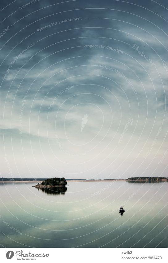 Windstiller Abend Freizeit & Hobby Angeln Mensch 2 Umwelt Natur Landschaft Luft Wasser Himmel Wolken Horizont Baum Insel See Ruderboot Erholung Ferne gigantisch