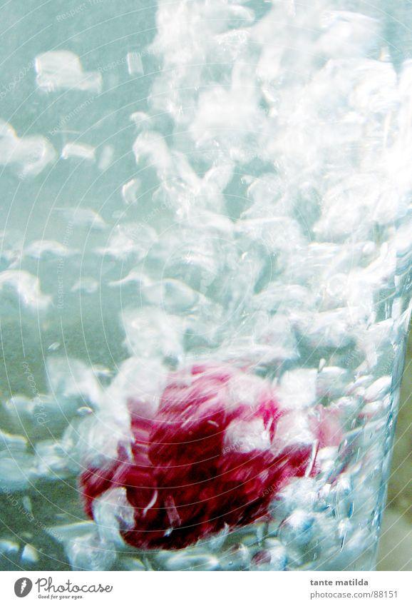 Himbeere im Glas Wasser blau rot Frucht frisch Wasserhahn Mineralwasser Himbeeren