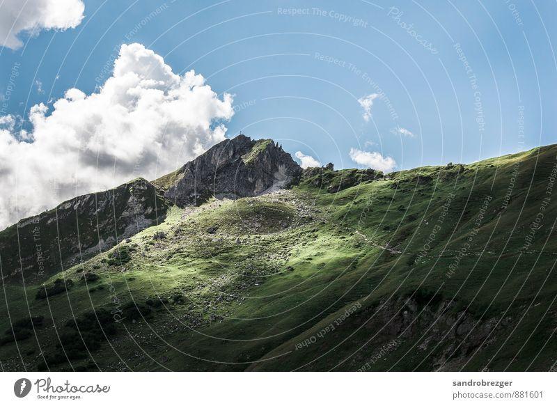 lichtblick Himmel Natur Ferien & Urlaub & Reisen blau Pflanze grün Sonne Landschaft Wolken Ferne Umwelt Berge u. Gebirge Freiheit außergewöhnlich gehen Felsen