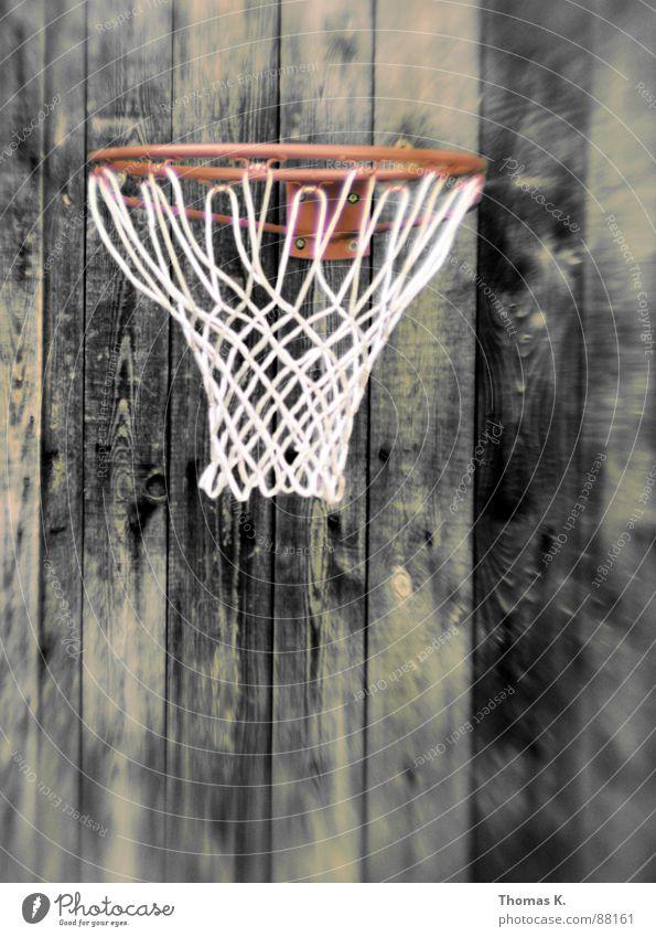 Drei Punkte Holz Netz Freizeit & Hobby Holzbrett Korb Basketball Maserung Ballsport Schiffsplanken