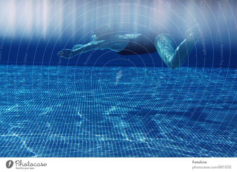 Sommerspaß Mensch feminin Kind Kindheit Körper Arme Hand Beine Fuß 1 Urelemente Wasser kalt sportlich blau Schwimmen & Baden Schwimmbad tauchen Farbfoto