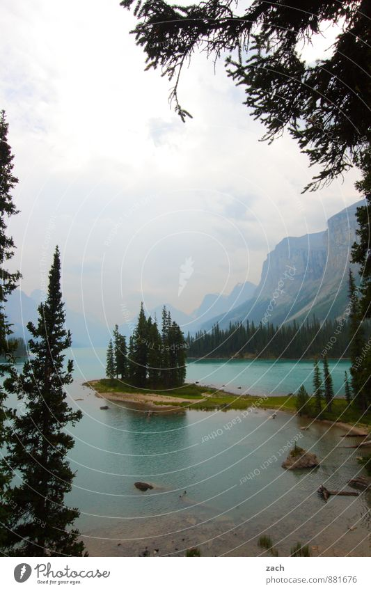 Kurztrip nach Spirit Island Himmel Natur Ferien & Urlaub & Reisen blau Pflanze grün Wasser Sommer Baum Landschaft Wolken Ferne Berge u. Gebirge Herbst Gras See