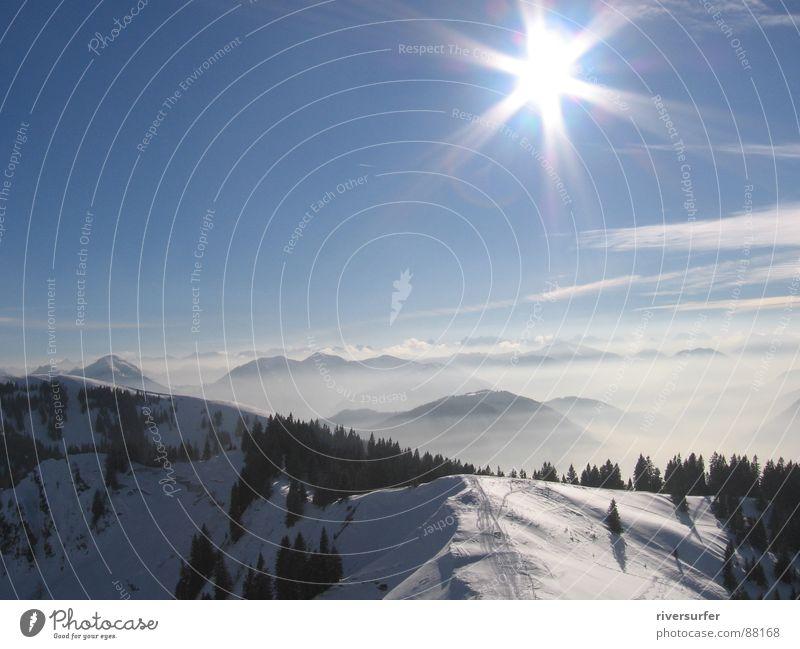 wintersun Natur Sonne Winter Schnee Berge u. Gebirge Nebel Umwelt Energiewirtschaft Niveau Alm Schleier Bergkette Wildnis Kamm Bergwiese Naturphänomene