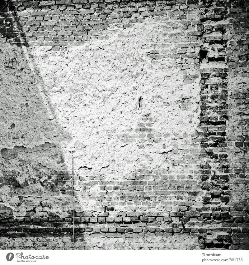Ein Bild von einer Wand. Menschenleer Bauwerk Architektur Mauer Innenhof Backsteinwand Putz Leitung Schatten Linie ästhetisch dunkel einfach grau schwarz