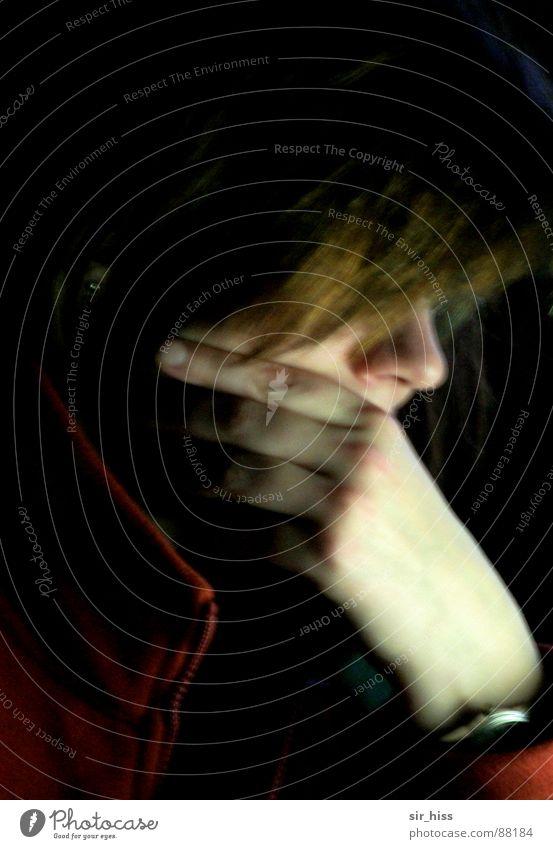 nachts, ein uhr Frau Mensch Hand Denken träumen Arbeit & Erwerbstätigkeit schlafen lesen Netz Konzentration Prüfung & Examen Draht Fragen online Abhängigkeit ratlos