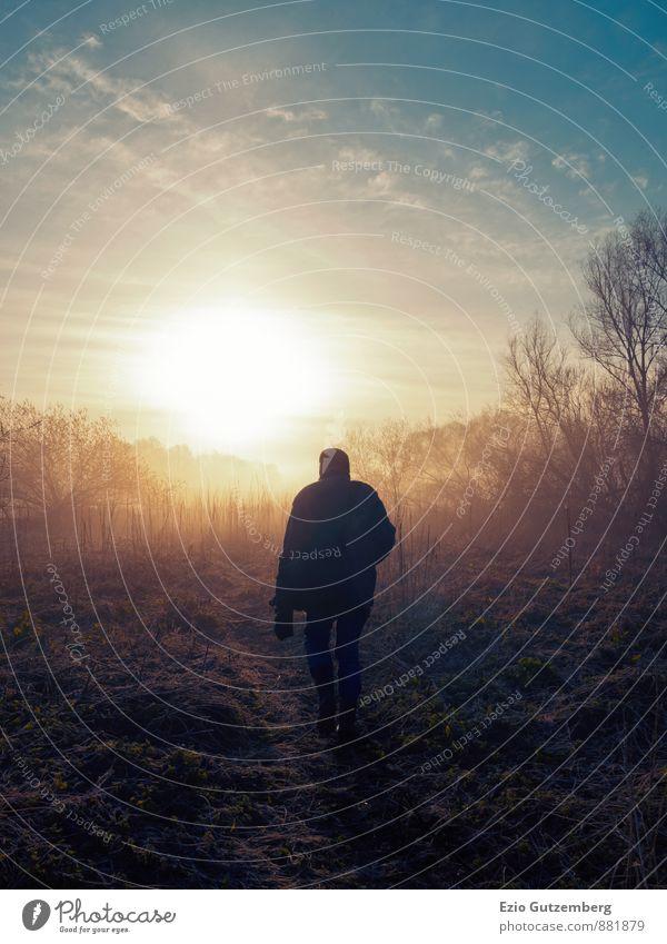 Mann geht dem Sonnenaufgang entgegen Mensch Himmel Natur Ferien & Urlaub & Reisen Pflanze Baum Erholung rot Landschaft Tier schwarz Wald Umwelt gelb
