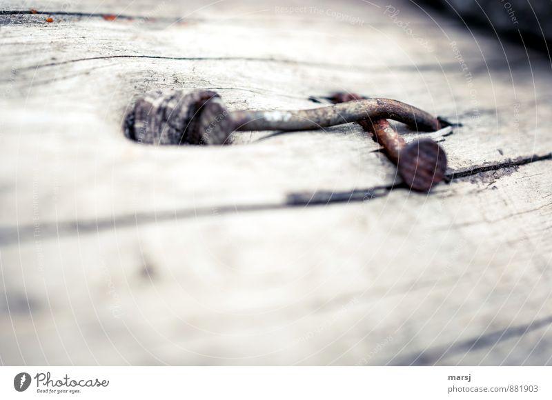 Reingklopft und kreuzweise plattgemacht Nagel Holz Metall Stahl Rost Kreuz alt Traurigkeit dunkel einfach Zusammensein trist grau banal gekreuzt verschwenden