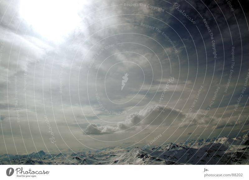 Explosions In The Sky Himmel weiß Sonne blau Wolken Schnee Berge u. Gebirge Horizont Alpen