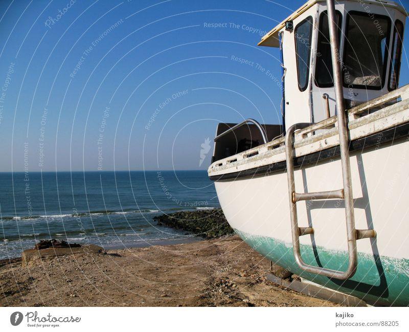 Lönstrup Wasser Himmel Meer Sommer Strand Einsamkeit Arbeit & Erwerbstätigkeit See Wasserfahrzeug Küste Hafen Beruf Dänemark Dock Fischerboot zurückziehen