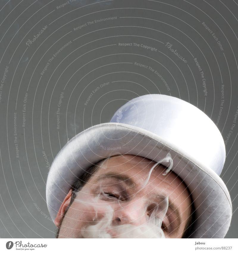 Moinsen, wo iss der Ascher? Kunst braun Kultur Schutz Maske Hut Gesellschaft (Soziologie) Rauch Typ Anzug anonym Krimineller Krebstier Ritual Zigarre Frack