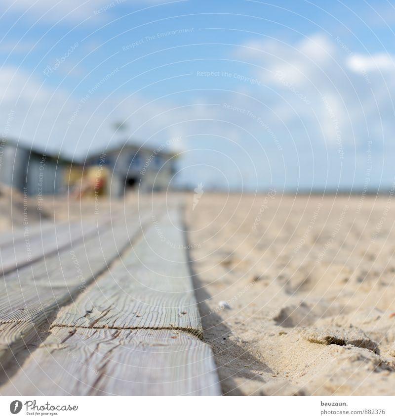holzweg. Himmel Ferien & Urlaub & Reisen Sommer Sonne Strand Ferne Wege & Pfade Holz Sand gehen Wetter Tourismus Beginn Ausflug Schönes Wetter Hütte