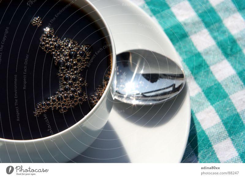 Die Pause Espresso Gastronomie Appetit & Hunger satt genießen Mittagspause Teller Tisch Löffel Erholung Küche Kaffee Ernährung Sonne Coffein Energiewirtschaft