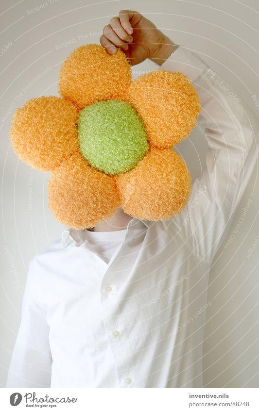 Flowerhead Blume grün Stoff Mann Pflanze Hemd weiß Freude Arbeit & Erwerbstätigkeit Kopf orange