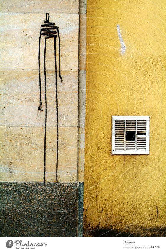 Graffiti Tagger Wand Gemälde Kunst Putz Ocker Wandmalereien Künstler Beine lange Beine Lüftungsgitter