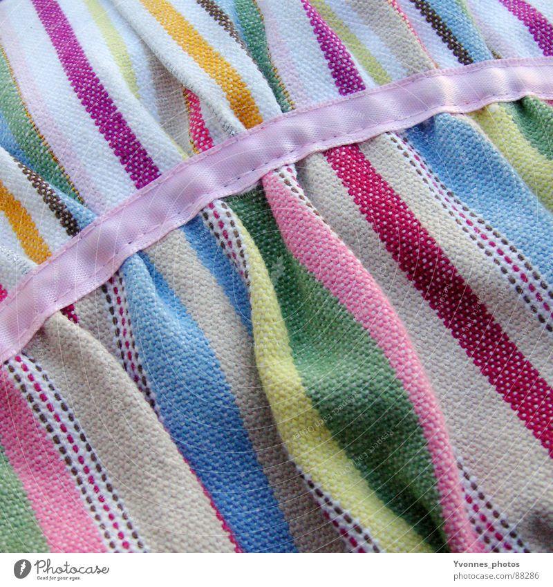 Frühling blau grün Farbe gelb springen rosa Streifen Stoff Dekoration & Verzierung weich Falte violett Schnur Quadrat Material