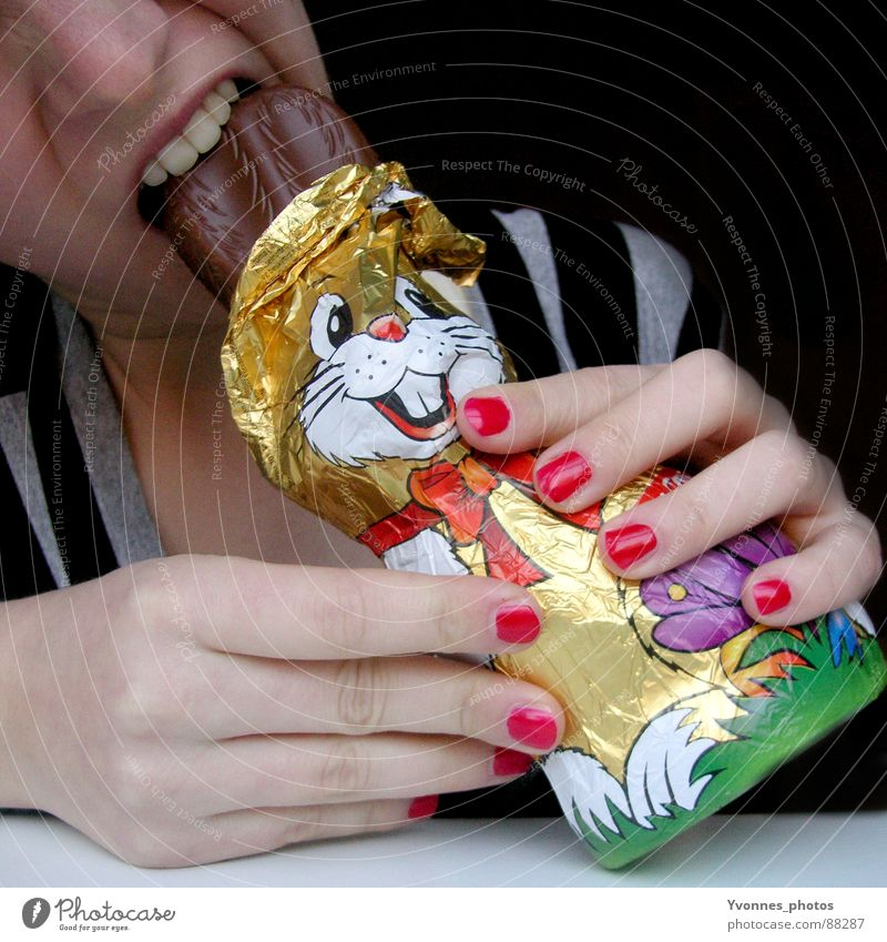 Osterhasi rot Freude Ernährung Stil Frühling Mund Feste & Feiern lustig Essen Ostern Gebiss Lippen Streifen genießen Schokolade Fingernagel