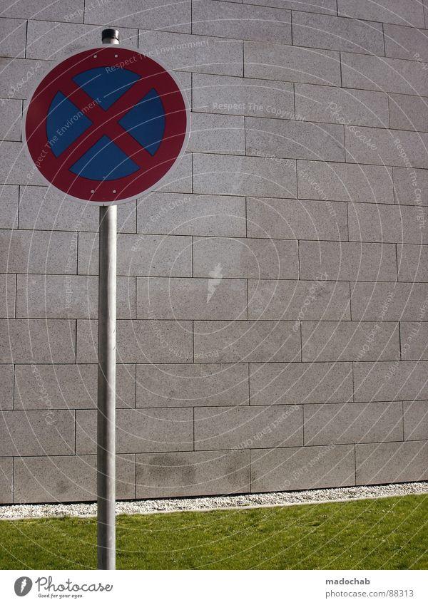 JETZT IS ABER GUT Natur grün Wand Wiese Gras Hintergrundbild Mauer Spielen grau Stein Linie Verkehr Ordnung Dekoration & Verzierung trist Schilder & Markierungen