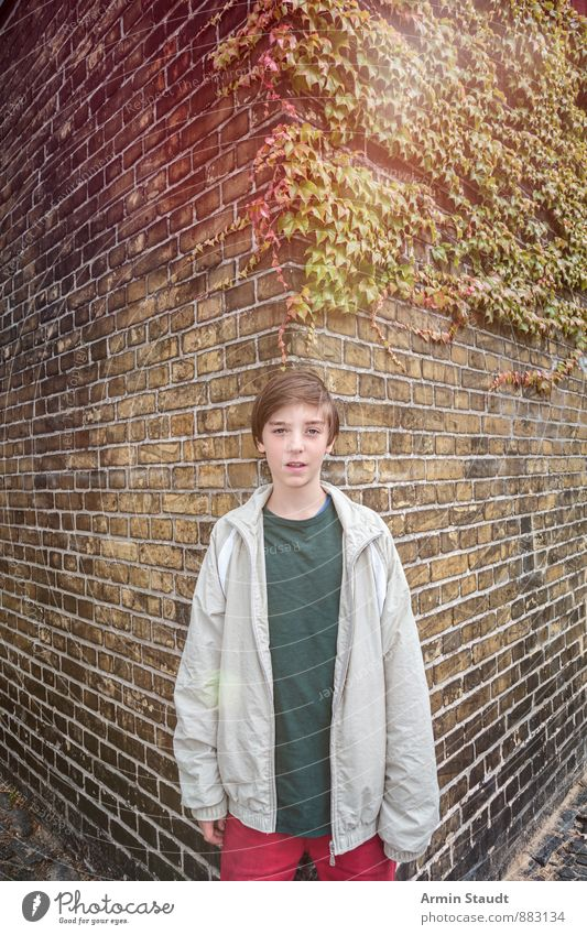 Porträt - Wand - Ecke - Efeu Mensch Kind Jugendliche Stadt Pflanze schön Junger Mann Herbst Gefühle Mauer maskulin Lifestyle Zufriedenheit Kindheit stehen