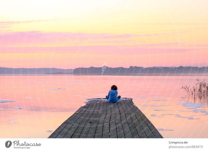 am Ruderhaus auf Rügen Mensch Himmel Kind Natur weiß Wasser Sommer Landschaft gelb Küste Junge Spielen grau rosa orange gold
