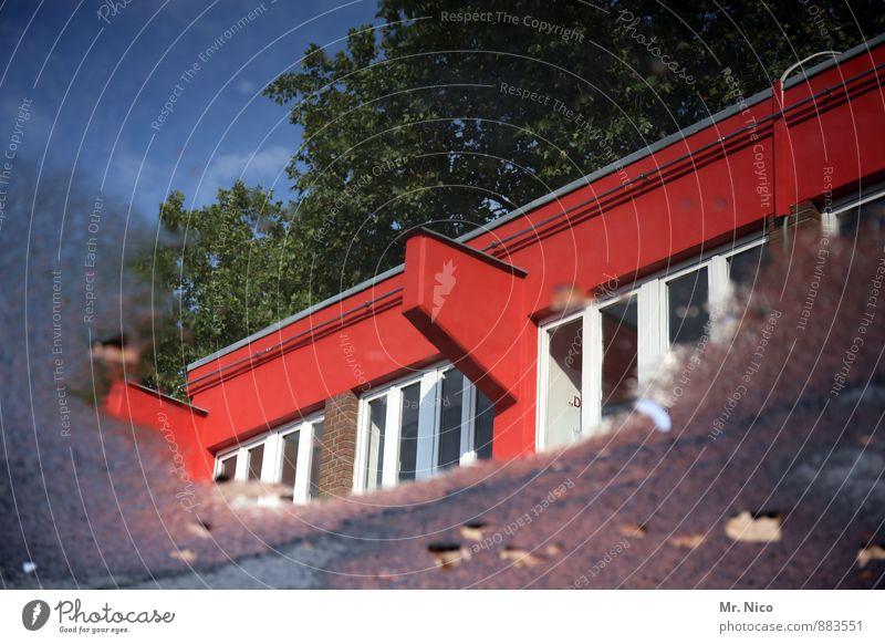 Kölner Pfütze | UT Köln Umwelt Wasser Himmel Wetter Schönes Wetter Pflanze Baum Stadt Haus Industrieanlage Gebäude Architektur Fassade Fenster nass rot weiß