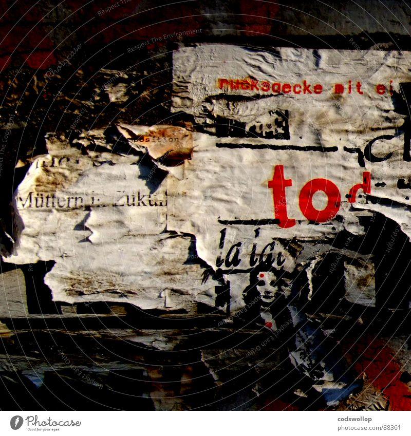 ruchsaecke mit ei rot Tod Kunst Kommunizieren Niveau Werbung verfallen Poster Punk Kunsthandwerk werben