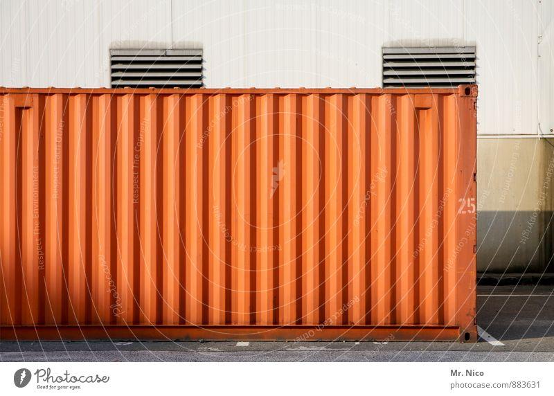 25 | UT Köln Industrieanlage Fabrik Containerschiff Güterverkehr & Logistik Ziffern & Zahlen Lagerhalle orange Hafen Lüftungsschacht Lüftungsklappe Abstellplatz
