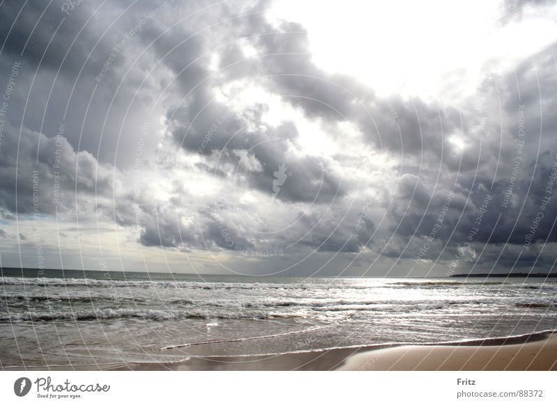 Meer & Wolken Strand dunkel Wellen Portugal Algarve