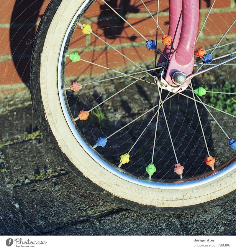 ohne Stützräder Spielen Fahrrad Kindheit Rad mehrfarbig Gabel Speichen Achse Kinderfahrrad