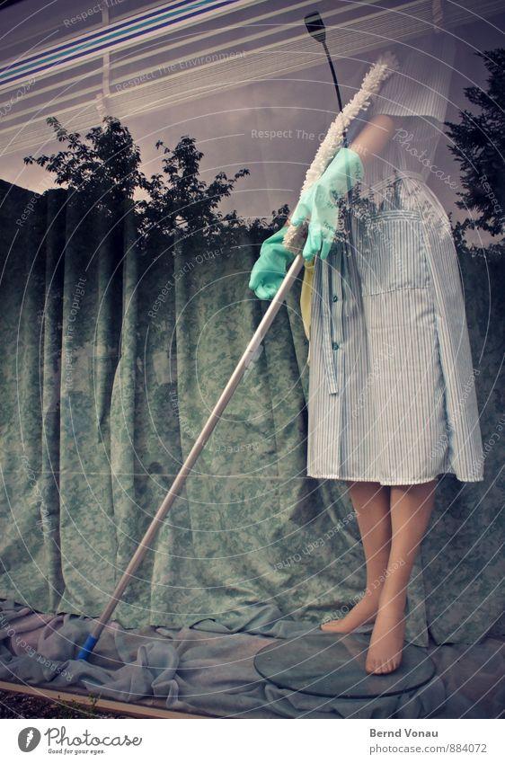 kopflos Frau blau Stadt Baum lustig grau Fuß braun Dekoration & Verzierung Reinigen Kleid Stoff Stadtzentrum Ladengeschäft skurril Fensterscheibe