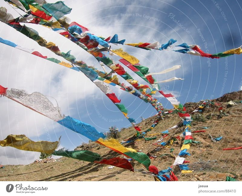 Gebetsfahnen Tibet Farbe Wind Fahne Asien Schwung