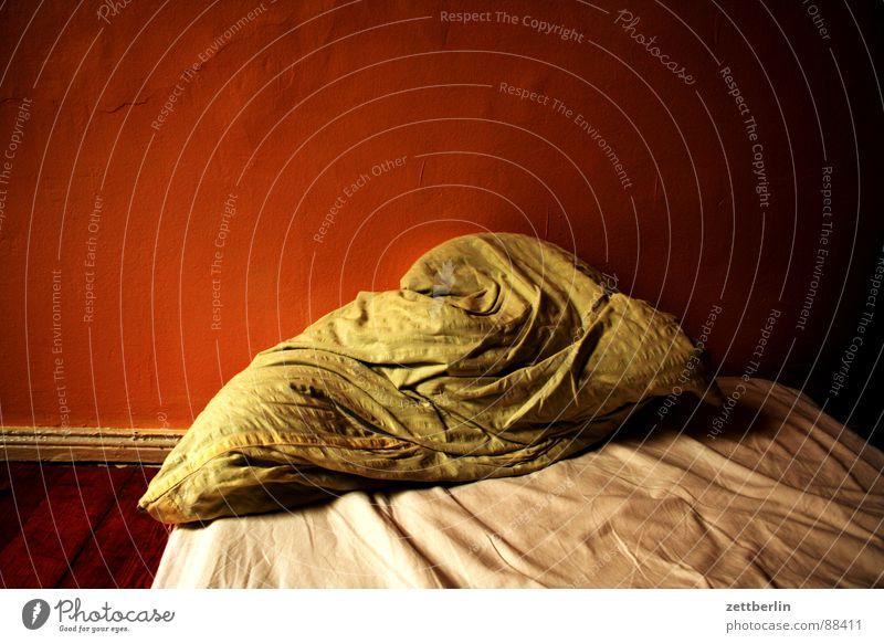 Schlecht geschlafen träumen Alptraum Bett Kissen Nacht Dämmerung Halbschlaf ungelegte Eier Trauer Verzweiflung Schlafzimmer Schlafstörung