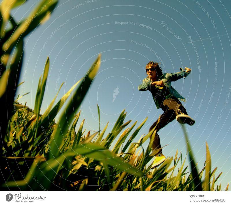 Spring ins Feld! I hüpfen Frühling Wiese Gras grün Stil Sonnenuntergang Körperhaltung Halm Froschperspektive Sonnenstrahlen Kick Kampfsport Mann Kerl Gefühle