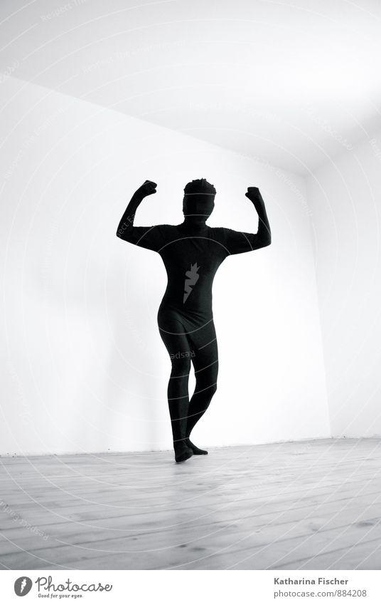 Power Mensch Jugendliche weiß 18-30 Jahre schwarz Erwachsene grau Raum Körper Kraft 45-60 Jahre stehen bedrohlich Coolness dünn sportlich