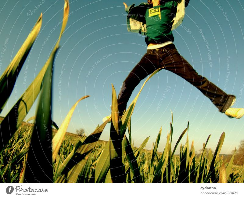 Spring ins Feld! II Mensch Himmel Mann Natur grün Pflanze Freude Landschaft Leben Wiese Gefühle Freiheit Gras Bewegung Frühling Stil