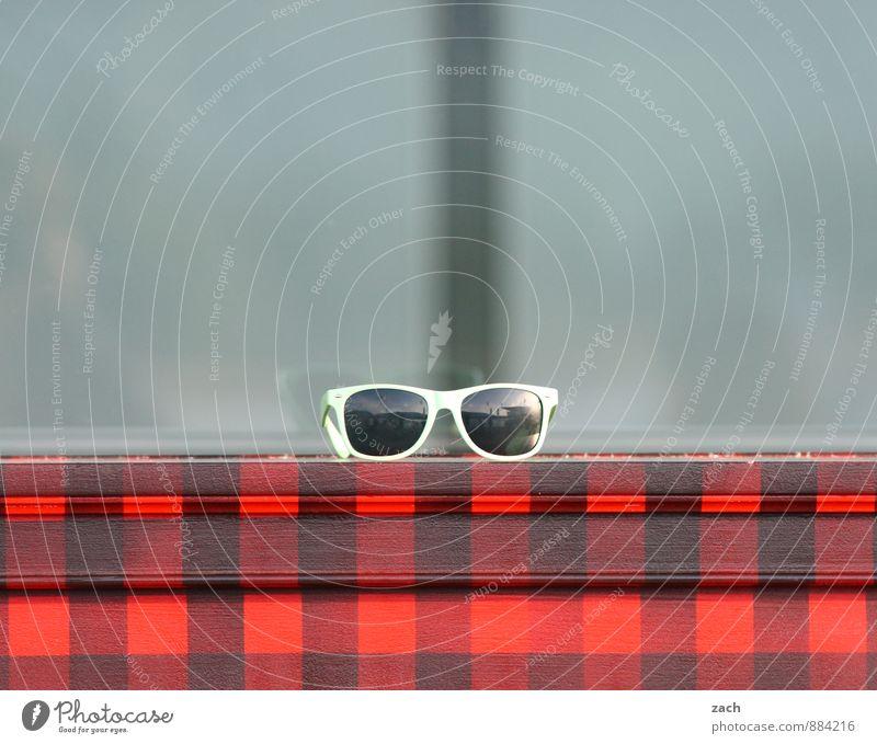 Gut für die Augen. Mode Accessoire Brille Sonnenbrille Verpackung Kasten Linie Streifen beobachten elegant trendy schön modern trashig rot karo kariert Farbfoto